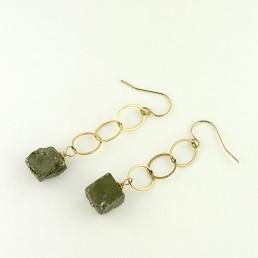 Pyrite Drop Gold Earrings
