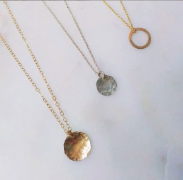 Hammered Gold Disc Necklace