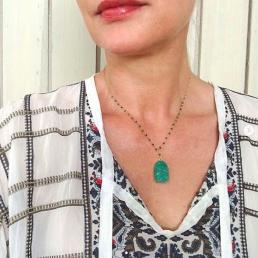 Green Malachite Faux Boho Necklace