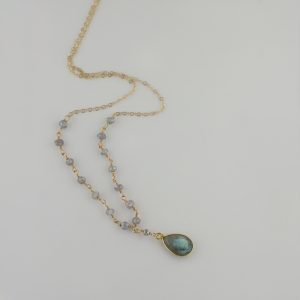 Labradolrite pendant rosary Necklace