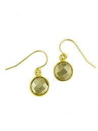 Illumine Faceted Pyrite Drop Earrings Gold
