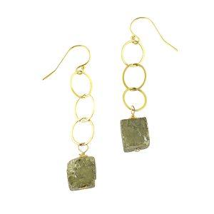 Pyrite Long Drop Earrings Gold