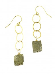Pyrite Long Drop Earrings Gold