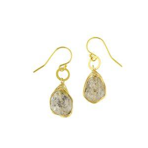 Herkimer Diamond Earrings on hammered ring