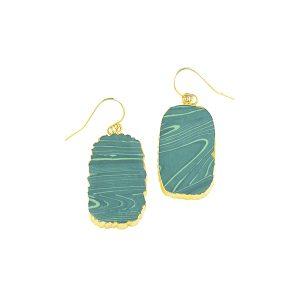 Malachite Slice Earrings Gold