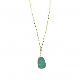 Malachite Pendant Rosary Necklace