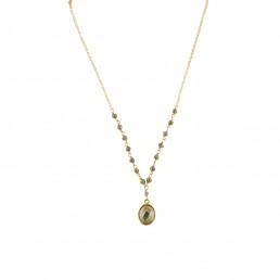 Illumine Pyrite Rosary Drop Necklace gold handmade