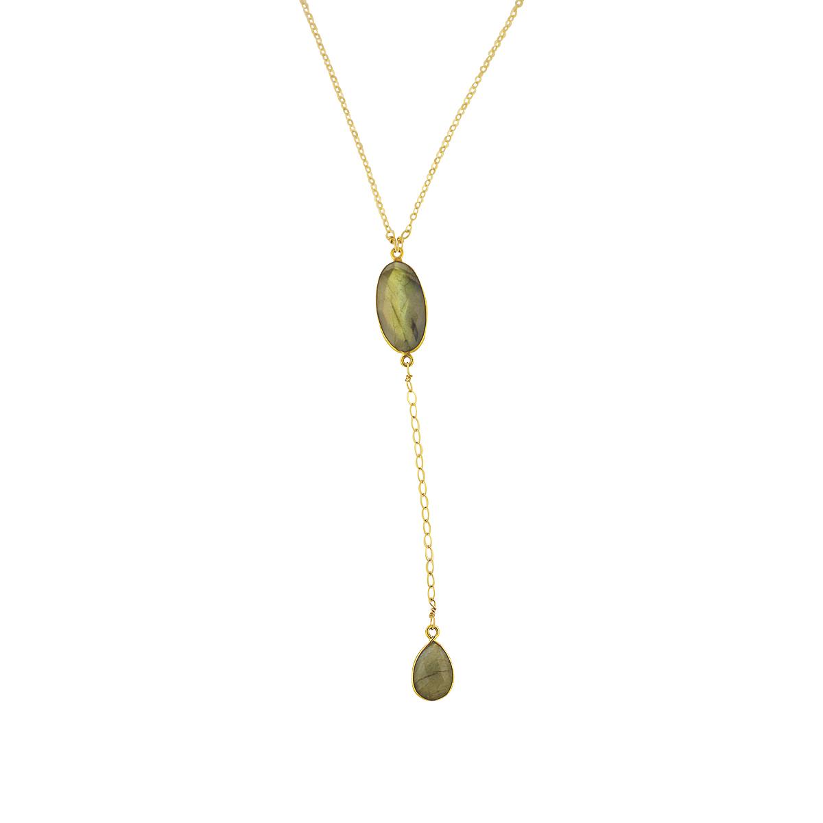 Labradorite Lariat Y-necklace Gold