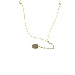 Pyrite Druzy Lariat Necklace Gold
