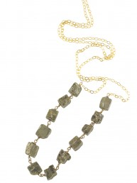 Long Pyrite Bar Necklace