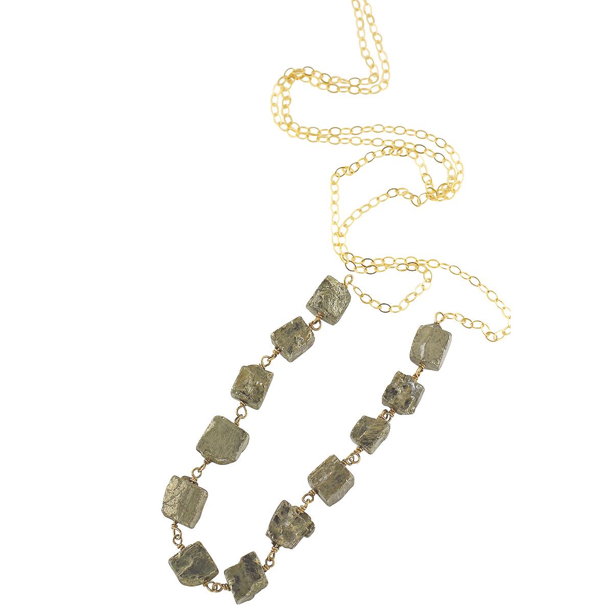 Long Pyrite Bar Necklace