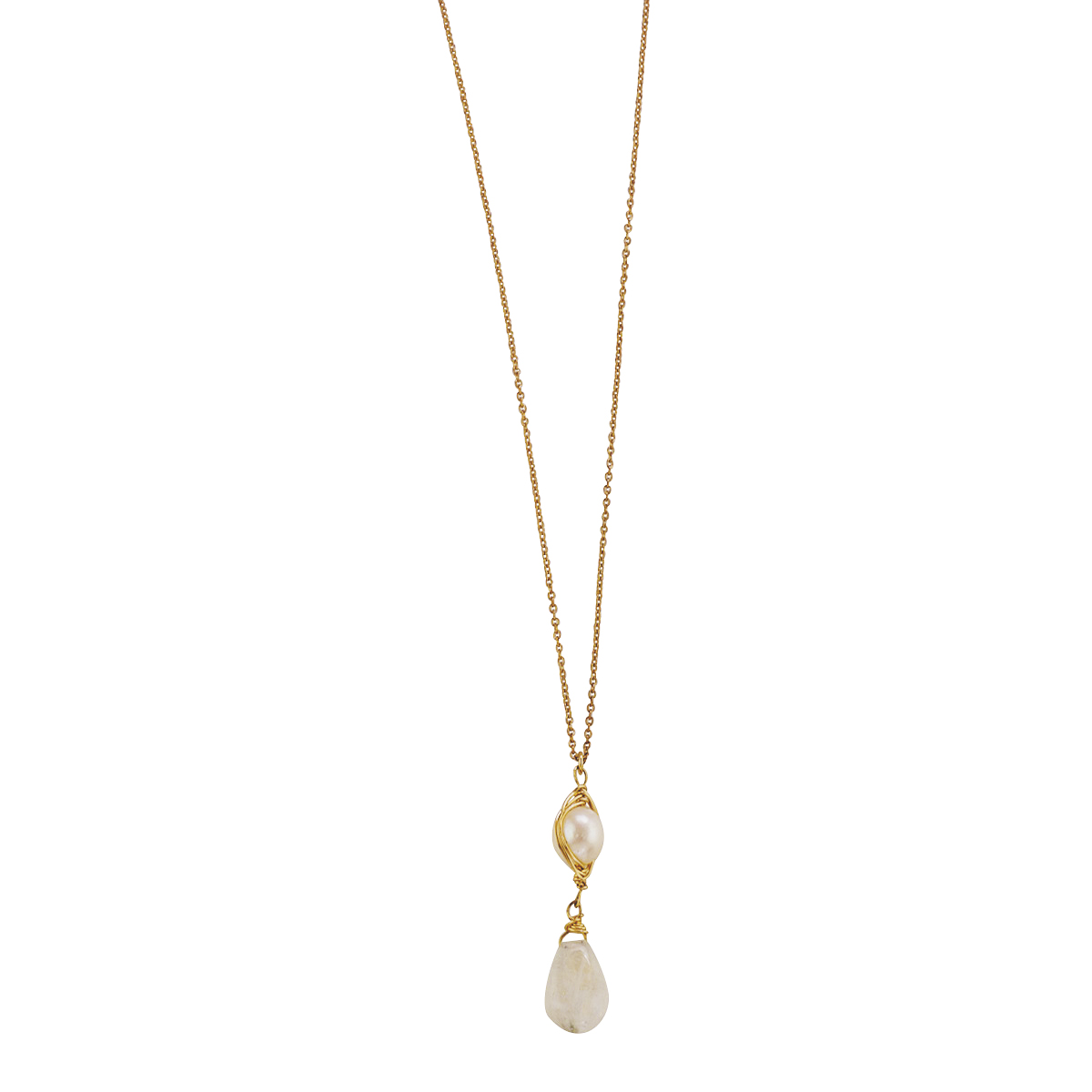 Pearl & Moonstone Pendant Necklace