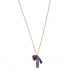 Blooma Charm Necklace with amethyst, sugilite and pearl