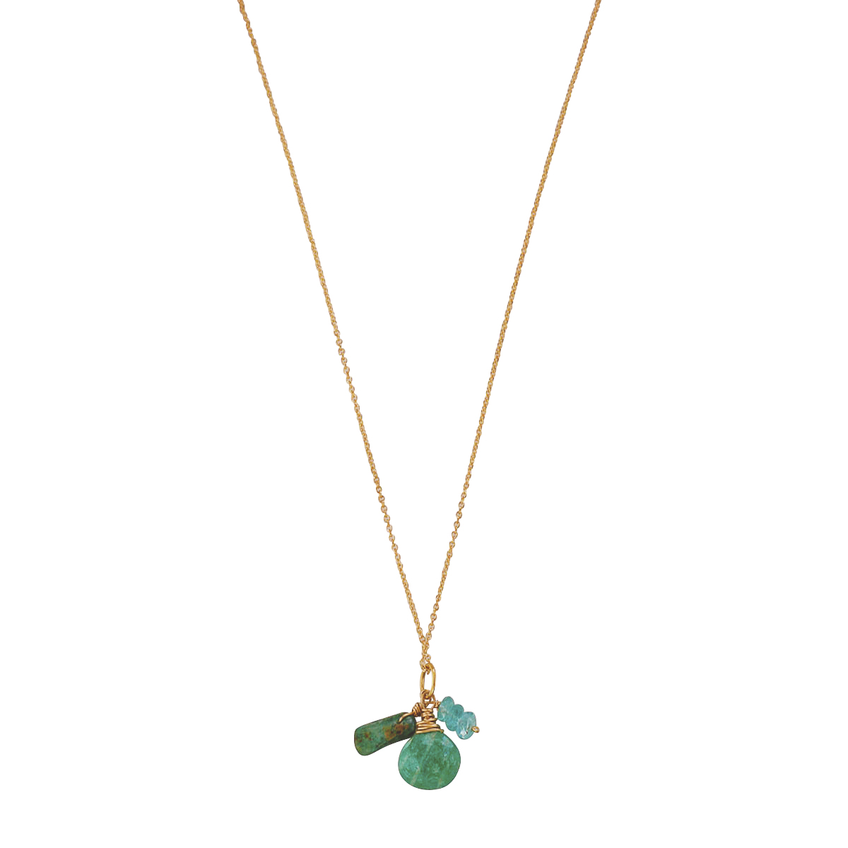 Charm necklace with amazonite, apatite and kyanite