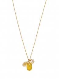 Blooma Charm Necklace with Chalcedony, citrine and pear