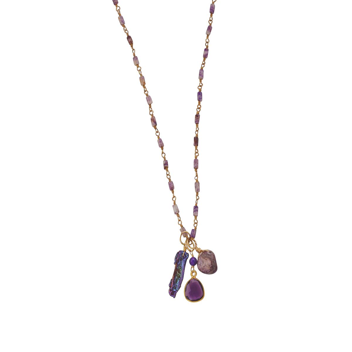 Sugilige Boho Necklace Amethyst & Pearl
